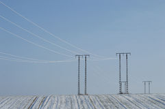 White frost. Rime on electric wires and poles Royalty Free Stock Photo