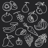 White fruit line draw abstract vector set design Royalty Free Stock Photos