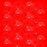 White fruit pattern on a red background. White fruit pattern on a red background Stock Photo