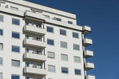White functionalistic residential building Stockholm stock image