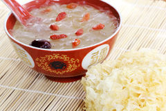 White fungus (Tremella fuciformis). And cooked with Goji berry taken as medicine supplement in Asia Royalty Free Stock Photography