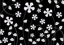 White funky flowers abstract pattern. Vector illustration of  white  funky flowers abstract pattern on black  background Stock Photo