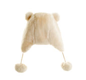 White fur cap with pompons and ears. Stock Images