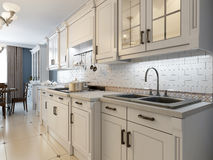 White furniture in mediterranean kitchen. 3D render Stock Photography