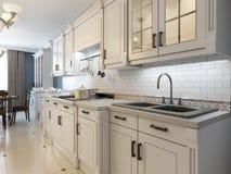 White furniture in mediterranean kitchen Stock Photography
