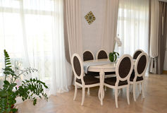 White furniture in a modern classical drawing room Stock Photo