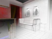White furniture in modern interior Stock Photos