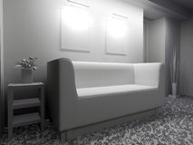 White furniture in modern interior Stock Photography