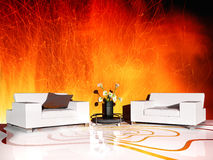 White furniture in modern interior Royalty Free Stock Images