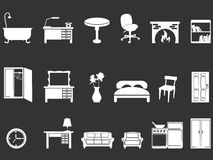 White furniture silhouettes. Isolated white furniture silhouettes from black background Stock Photo