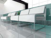 White furniture at white office Royalty Free Stock Image