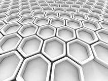 White Futuristic Hexagon Abstract Design Background. 3d Render Illustration Royalty Free Stock Photos
