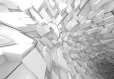 White futuristic tunnel interior, 3d. Abstract digital background, white futuristic tunnel interior, 3d illustration Stock Photos