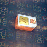 White 5g sim card with glow and flares above the neon simpattern 3d render high speed mobile communications concept Royalty Free Stock Photos