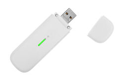 White 3g usb wireless mobile modem. Isolated on white Royalty Free Stock Images