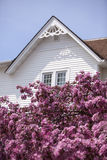 White Gable and Pink Flowers Royalty Free Stock Image