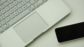 White gadgets and electronic devices of new generation for business projects.  stock video