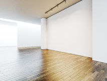 White gallery interior with empty walls and wooden Stock Photos
