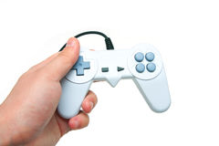 White game controller in hand Royalty Free Stock Images