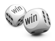 White game dices wit win sign. Stock Images