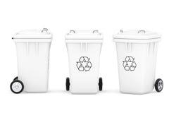 White Garbage Trash Bins Stock Photography