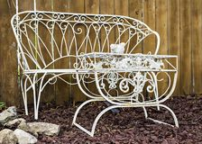 White garden furniture of metal.  Royalty Free Stock Photo