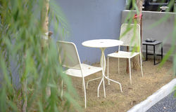 White garden furniture. And table Stock Image