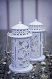 White garden lamp with candle stock images