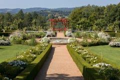 White garden in the picturesque Jardins du Manoir d Eyrignac in Dordogne. France stock images