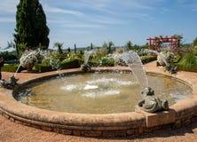 White garden in the picturesque Jardins du Manoir d Eyrignac in Dordogne. France royalty free stock photos