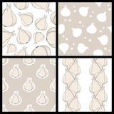 White Garlic Seamless Patterns Set Royalty Free Stock Photo