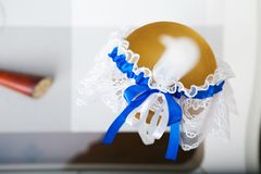 White garter of bride Royalty Free Stock Photography