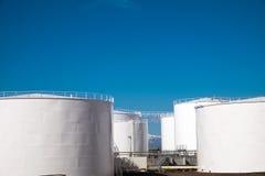 White gas storage tanks Royalty Free Stock Photography