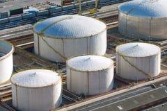 White gas storage tanks Stock Photo
