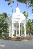 White gazebo by a beach Royalty Free Stock Photos