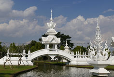 White gazebo on the bridge across the pond Royalty Free Stock Photography