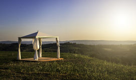 White gazebo in a mountain Royalty Free Stock Photos