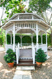 White gazebo in natural park Royalty Free Stock Photos