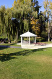 White Gazebo in the Park. A Gazebo surrounded by Trees in a Park Stock Photography