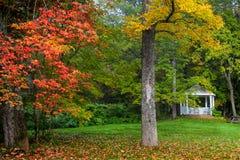 White Gazebo in Vermont. Park near Stowe city Royalty Free Stock Photos