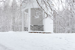 White gazebo in the winter garden. landscape Stock Image
