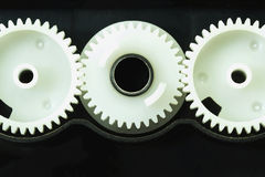 White gear components of the printer. Royalty Free Stock Photography