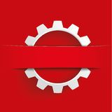 White Gear Red Banner Royalty Free Stock Image