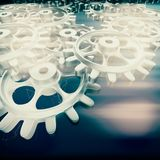 White gears and cogs macro vector illustration