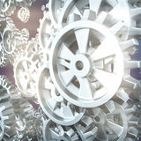 White gears and cogs macro. On white background. 3D Stock Photography