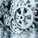 White gears and cogs macro Stock Image