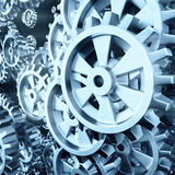 White gears and cogs macro. On black background. 3D Royalty Free Stock Image