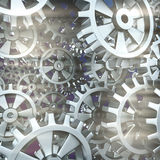White gears and cogs macro. On black background. 3D Royalty Free Stock Images