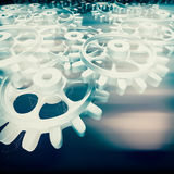 White gears and cogs macro Stock Images