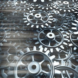 White gears and cogs macro. On black background. 3D Stock Photography